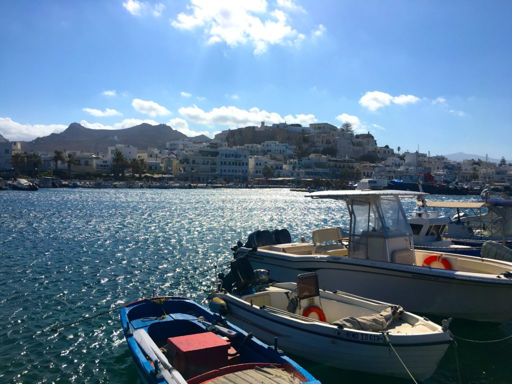 Old town Naxos Greece from the cruise dock