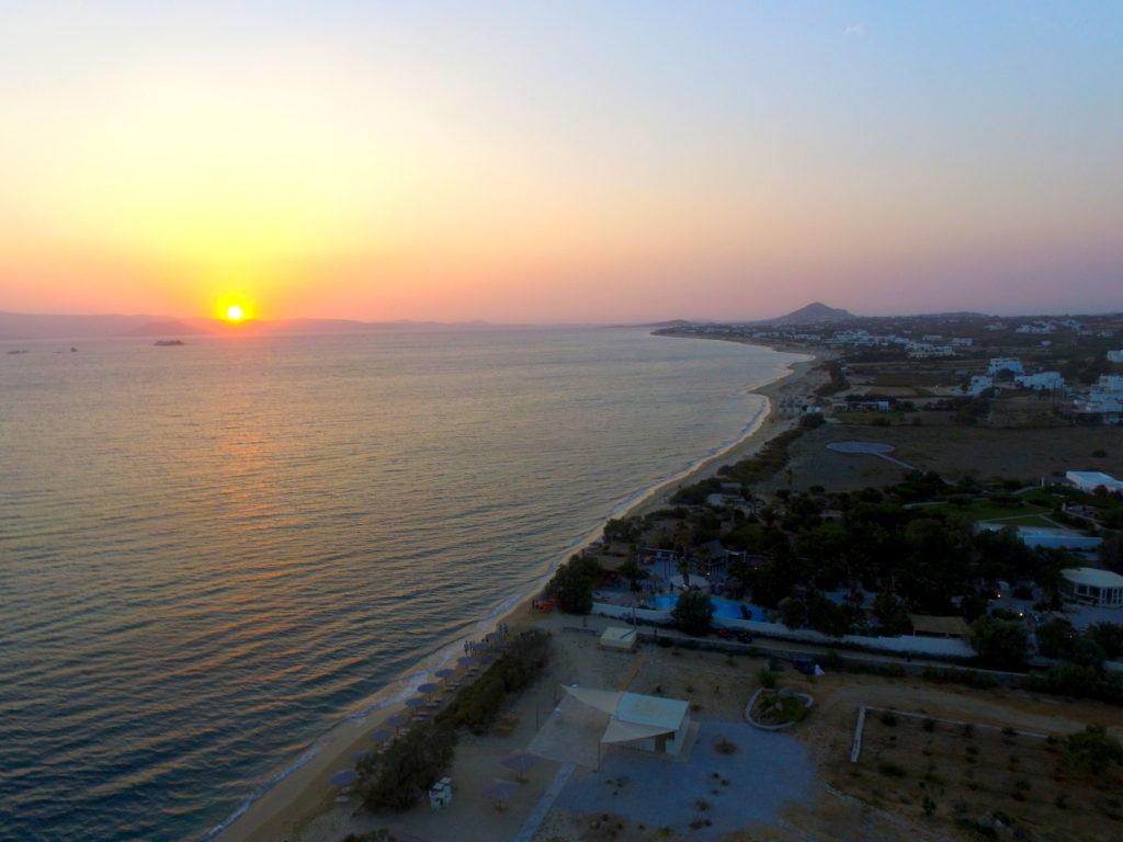 Sunset at Plaka beach in Naxos Greece