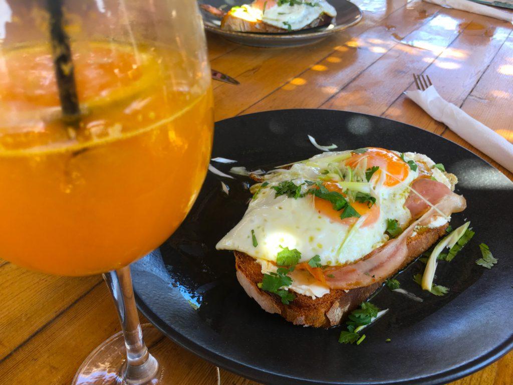 Ham and egg breakfast sandwich in Naxos greece