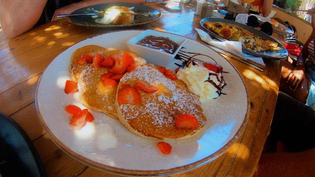 Strawberry and chocolate pancake breakfast in Naxos Greece