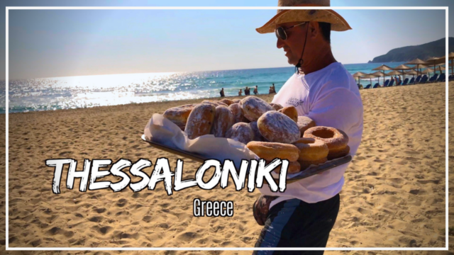 Donut man selling huge donuts on Sarti Beach in Sithonia