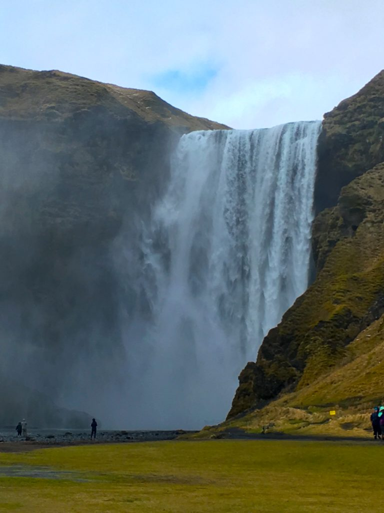 Front view of the massive Skógafoss in Iceland