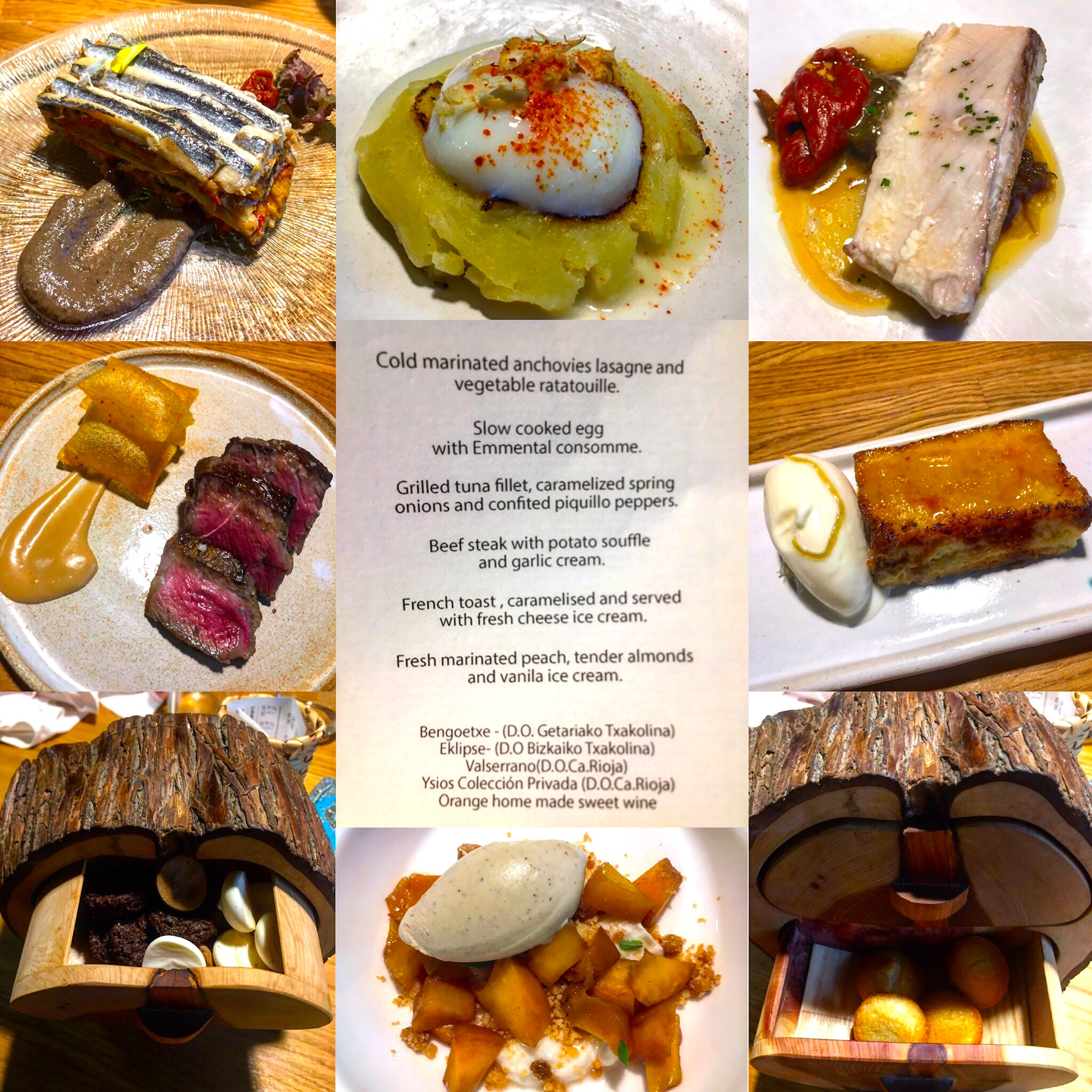 Set menu at Bodegon Alejandro, one of San Sebastian's michelin star restaurants