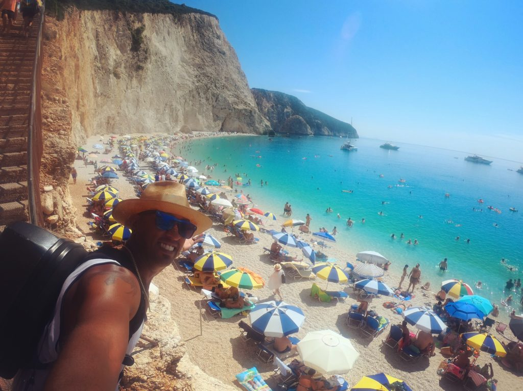 Views of Porto Katsiki beach in Lefkada Greece
