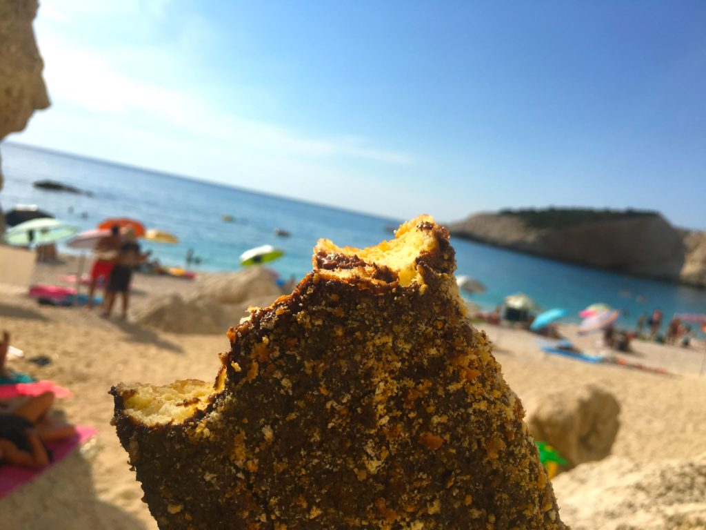 Chocolate donut from Porto Katsiki Beach in Lefkada Greece