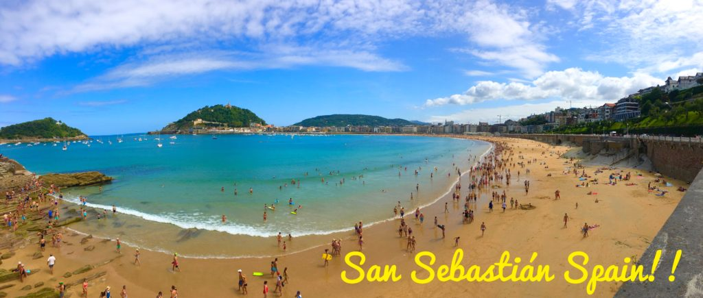 Playa de la concha beach views in San Sebastian Spain
