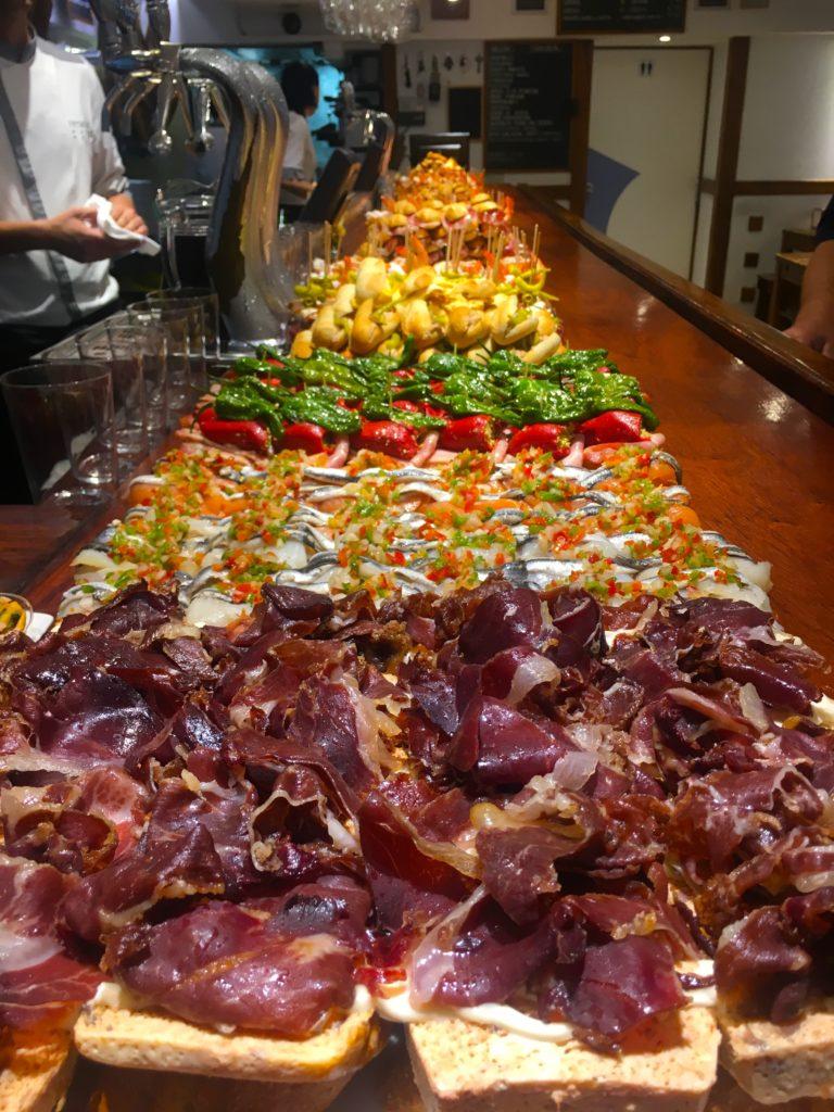 Various Pintxos inside of San Sebastian restaurants