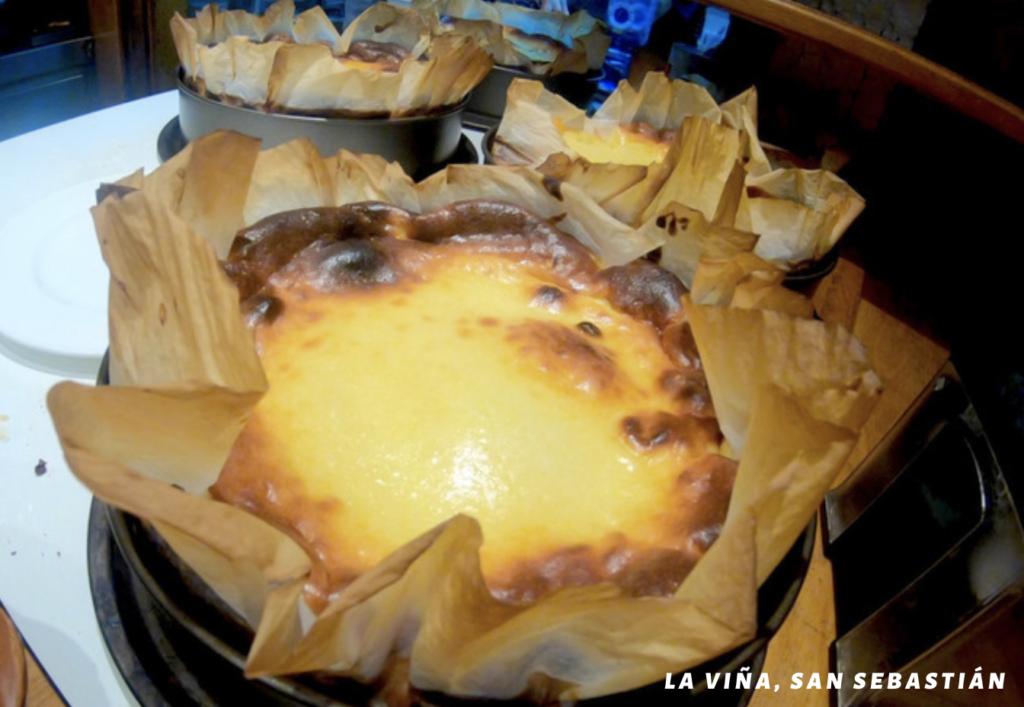 Famous cheese cake at la viña restaurant in san sebastian spain