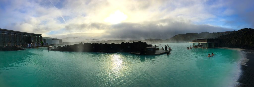 Inside of the thermal pool area and swim up bar at the blue lagoon iceland