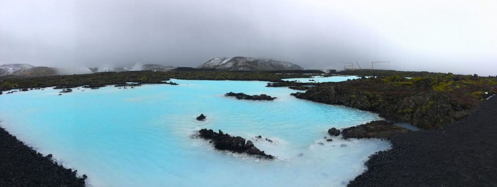 Aqua blue thermal pools outside of the blue lagoon iceland