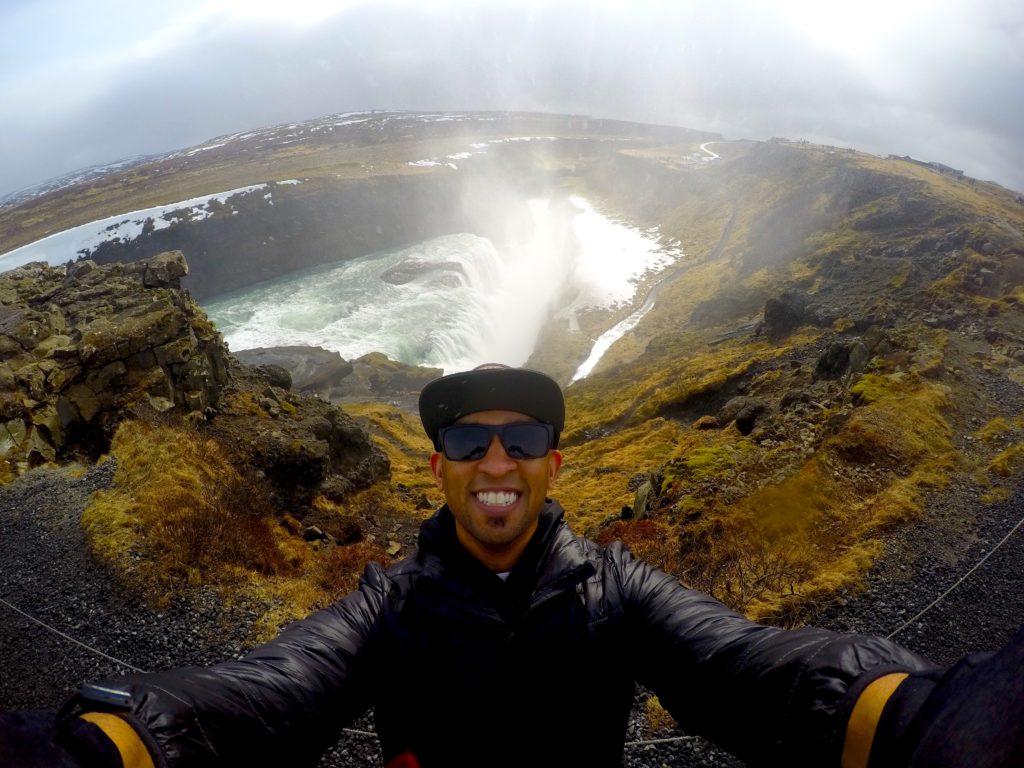 Selfie photo in front of Gullfoss in Iceland