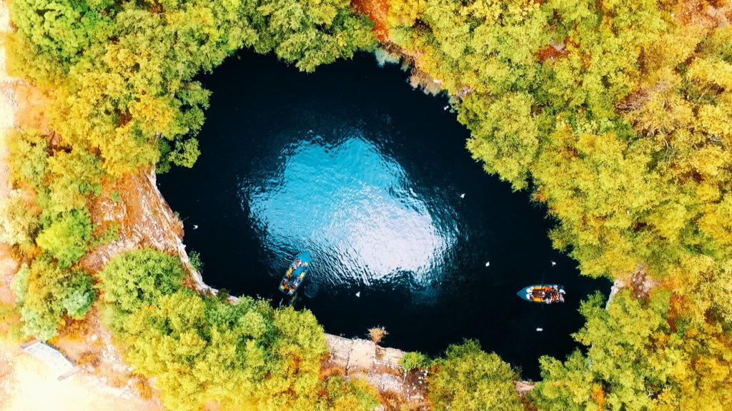 drone picture above the melissani cave in kefalonia greece