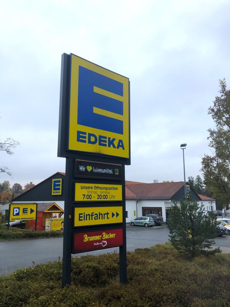 Outside sign of Edeka shopping center in Grafenwoehr Germany