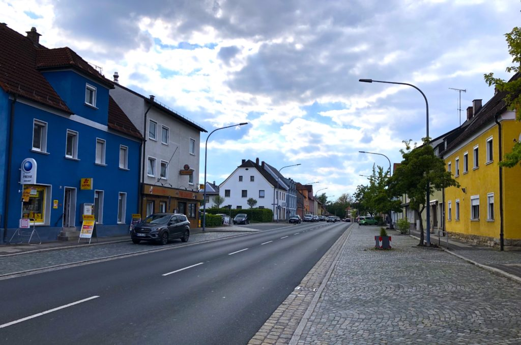 Grafenwoehr's main street through the city with colorful buildings