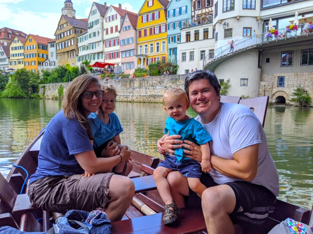 Canal ride with kids and colorful buildings in Tubingen Germany