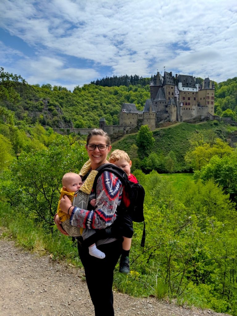 Double baby backpack hiking to Burg Eltz in Germany