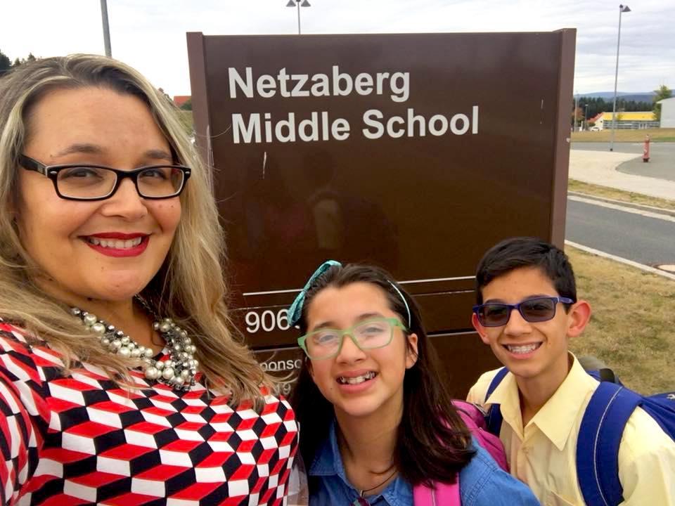 Rozanski family first day of school at Netzaberg Middle School