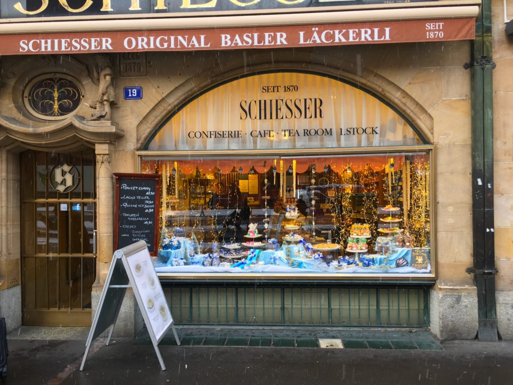 Front entrance to Schiesser Confiserie, one of Basel's oldest chocolate shops