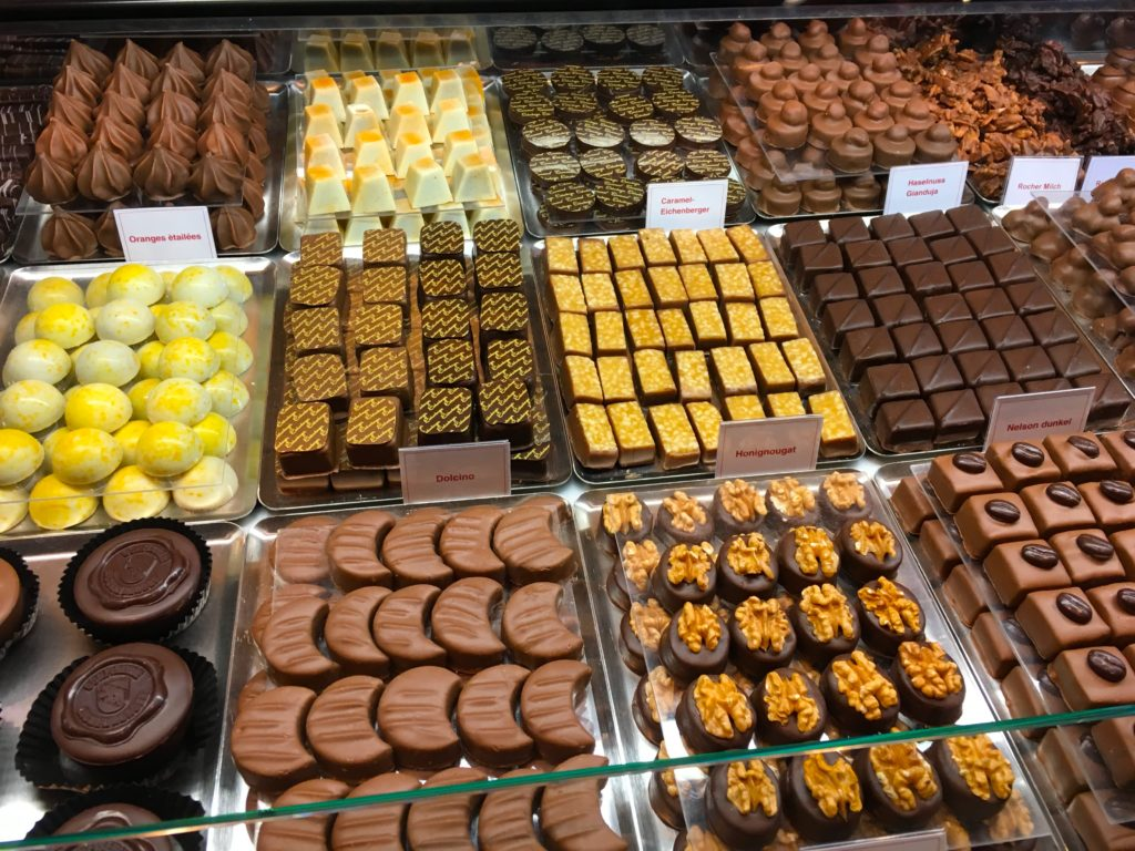Various chocolates in Basel Switzerland