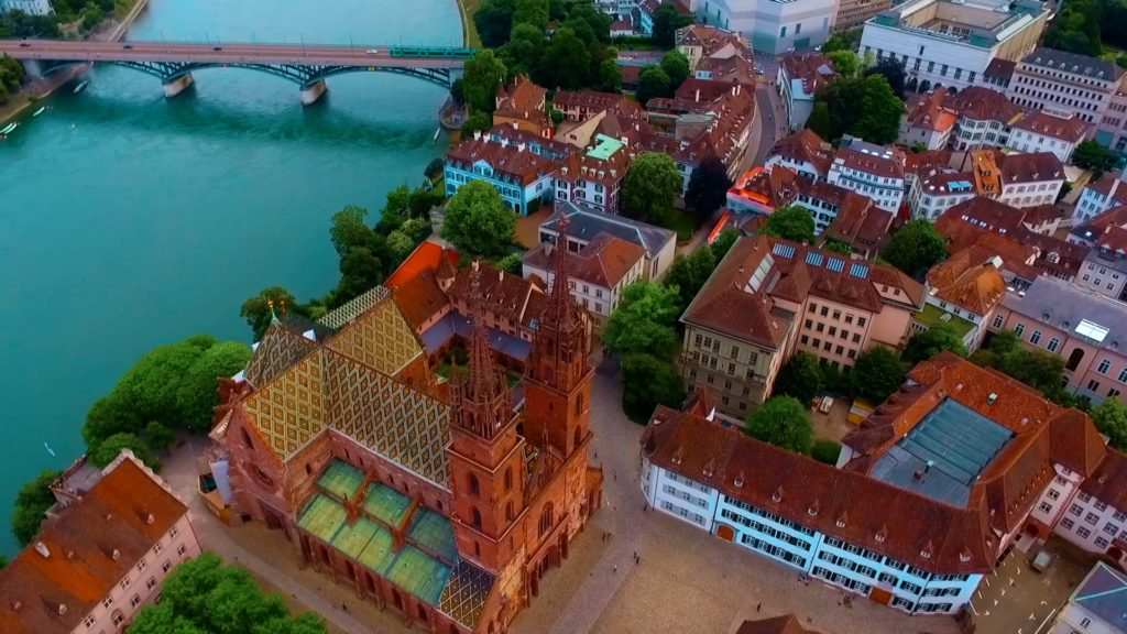 aerial view of basel cathedral in switzerland