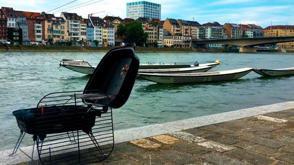 boats, bbq, and city views on the rhine river of basel switzerland