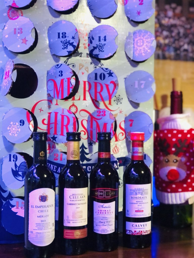 Different selections of wine in advent calendar