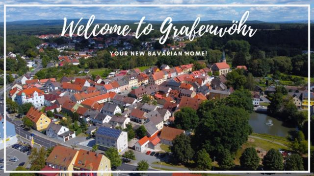 Aerial view of downtown Grafenwoehr Germany