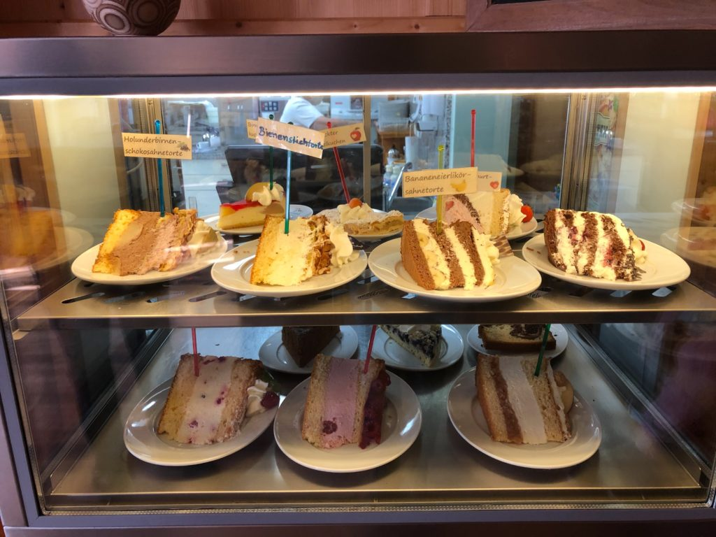 A variety of Kuhstallcafe cakes on display near Hohenfels Germany