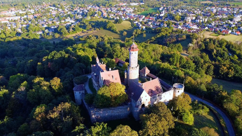 Aerial view of Altenburg Castle in Bamberg Germany
