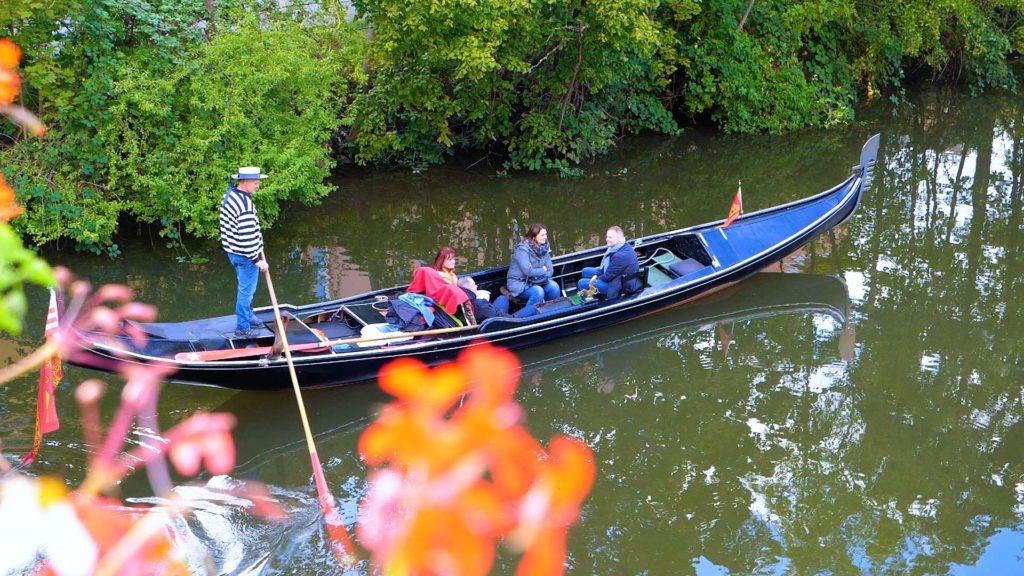 Gondola ride on the Left Regnitzarm river in Bamberg