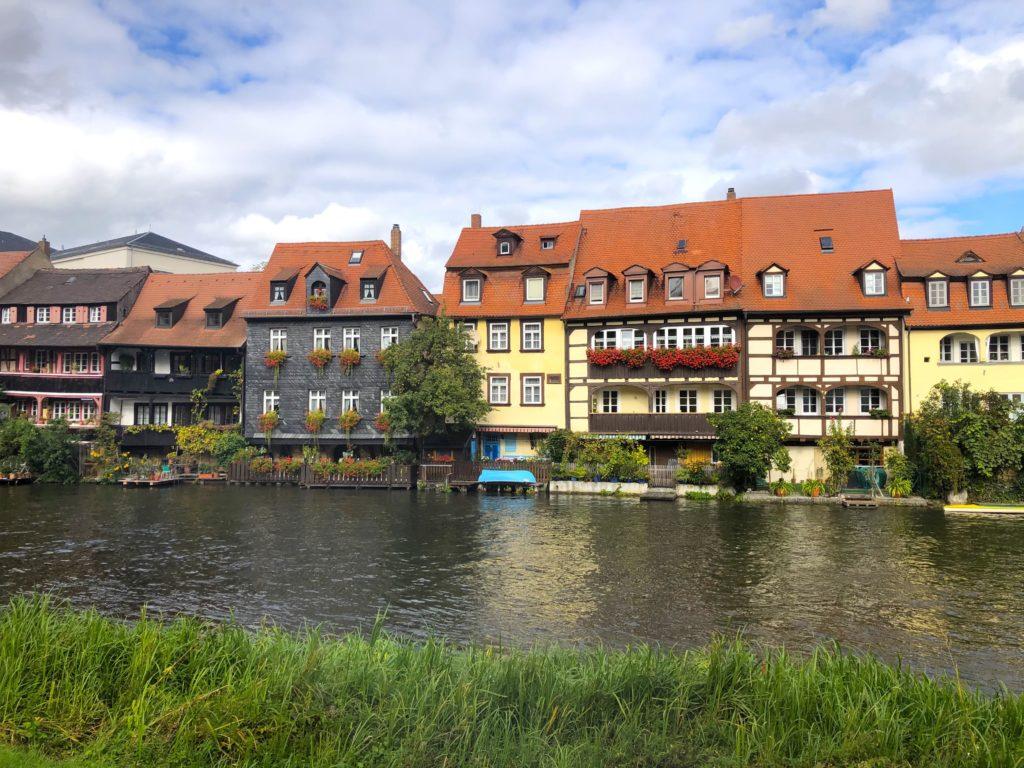 Little Venice houses on the Left Regnitzarm river in Bamberg