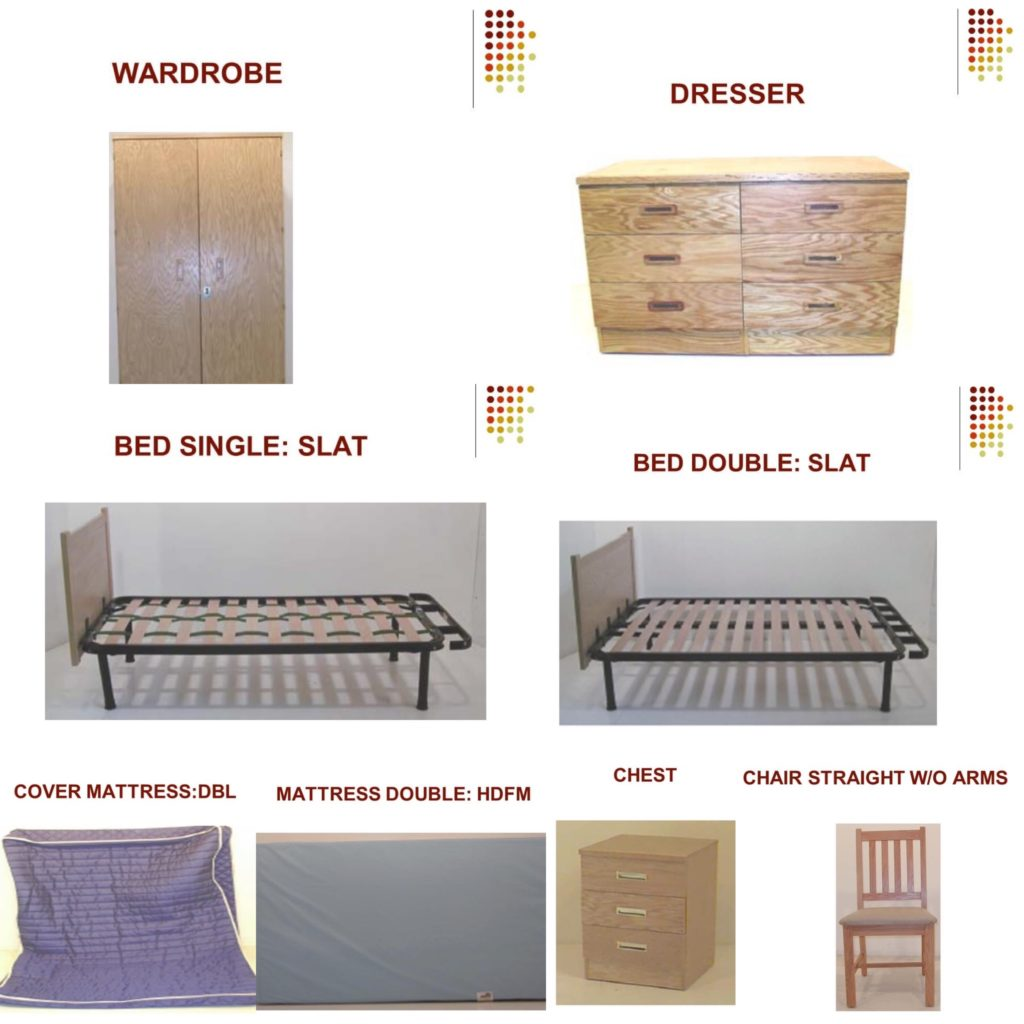 grafenwoehr germany government furniture for the bedroom including a wardrobe, dresser, single and double bed, mattress, chest, and chair
