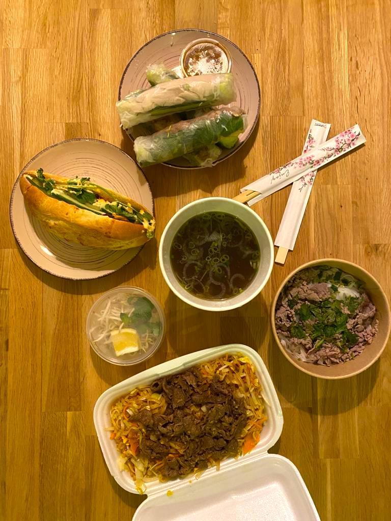 variety of vietnamese dishes from pho viet in Grafenwoehr germany
