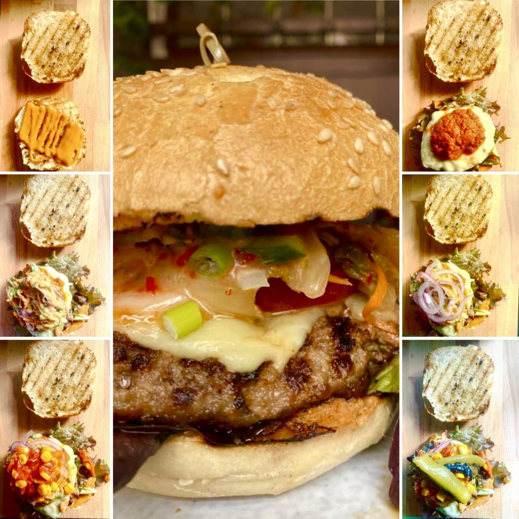 Progression of pictures putting together the Mexican burger at nina & velja's kitchen in weiden