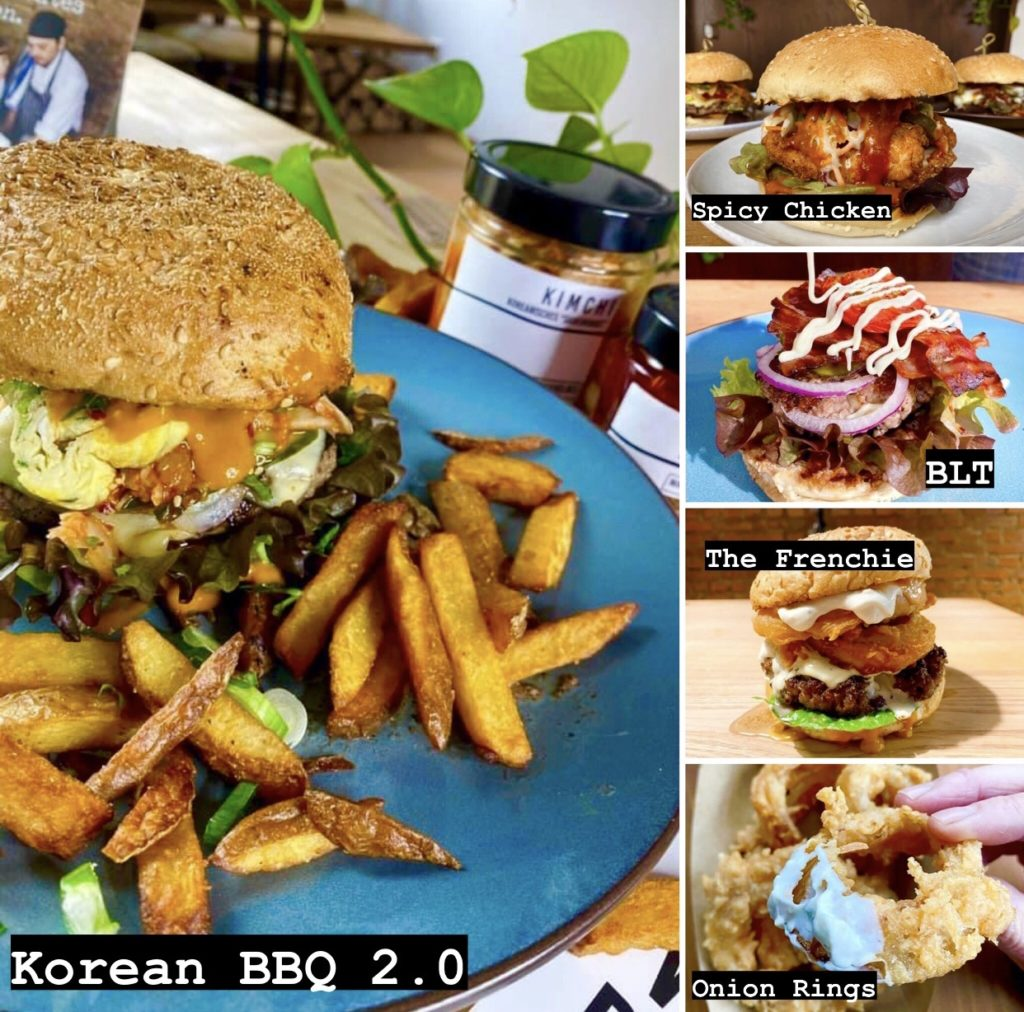 Korean BBQ 2.0 burger, Spicy chicken burger, BLT, Frenchie burger, and onion rings at nina & velja's kitchen in weiden