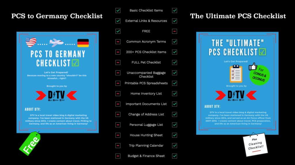 PCS to Germany Checklist vs The Ultimate PCS Checklist