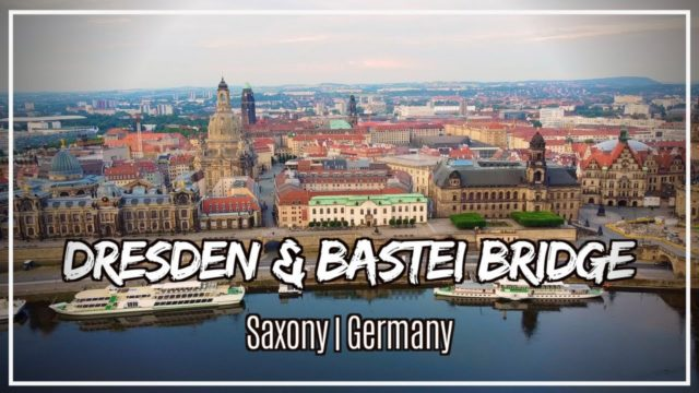 drone shot of old city dresden germany
