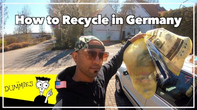 American recycling in Germany with yellow bags