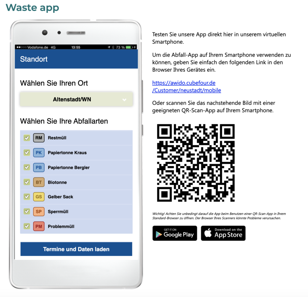 Neustadt Waldnaab Abfall Waste App