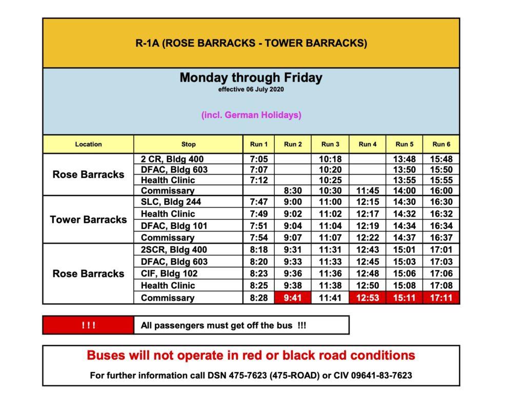 Rose barracks to tower barracks shuttle schedule